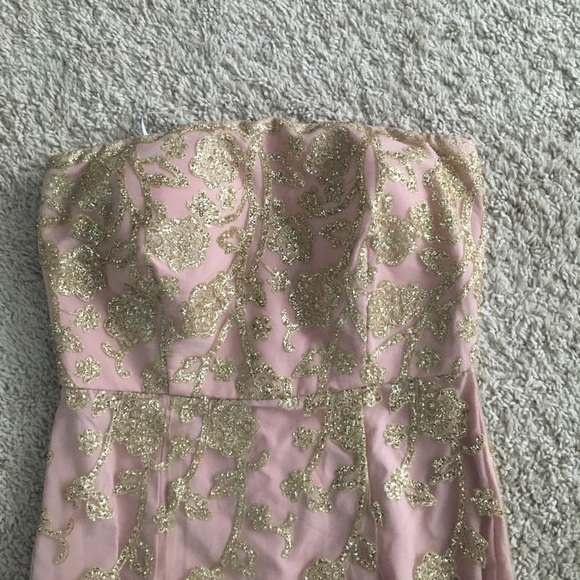 PromGirl Dresses & Skirts - Promgirl Pink and Gold Prom Dress